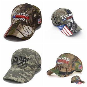 cappello camuffamento Donald Trump USA Flag berretto da baseball Keep America Grande Cappello 2020 del ricamo 3D Stella Lettera Camo regolabile Snapback FFA1850