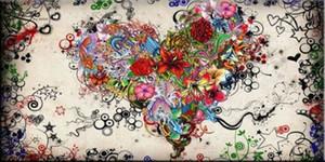 MODERN ART RESUMEN DE PARED óleo sobre lienzo Corazón de flores Inicio Arte decoración de la pared pintada a mano de la impresión de HD 191023