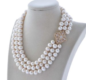 """Z10015 3row 18"""" 11mm rond blanc Bracelet Collier perles d'eau douce CZ"""