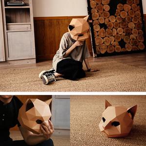 Kedi Maskesi DIY Yaratıcı El İşçiliği Hallowen Kağıt Matrix Cosplay 3D Hayvan Kafa Parti Dekorasyon Fotoğraf Prop Maske