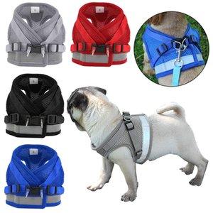 Cucciolo dell'animale domestico Harness traspirante Small Dog Cat Mesh e guinzaglio Set Refective Vest Passeggiata collo morbido fascia toracica sicurezza Pug Chihuahua Bulldog XS / S /