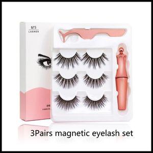 Magnetische Wimpern mit Eyeliner und Tweezer 3 Paare 5 magnetische falsche Wimpern Liquid Eyeliner Verfassungs-Satz wiederverwendbare Wimper kleister