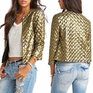 New Women Blazer Mulheres Primavera Verão losango ouro lantejoulas Blazer Casacos Três Quater luva Casacos Outwears S-2XL ~~