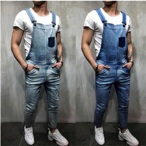 Mens Designer Jeans Salopette Summer Fashion Denim Pantalon de travail avec des poches Skinny Jeans Vintage manches Man