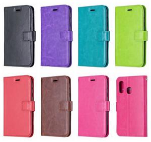Кожаный бумажник чехол для Samsung 5г модели S10 S10e А80 А40 A20E Сони XZ4 HAWEI У9 2019 ретро сумасшедший лошадь книга фрейм слот для карты ID держатель откидная крышка