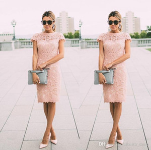 2020 Cheap Blush Pink Mother Of The Bride Dresses Jewel Neck Short Sleeves Full Lace Knee Length Sheath Party Evening Wedding Guest Gowns
