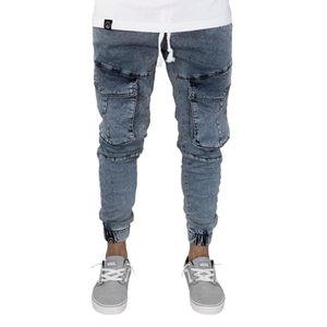 Pantalones vaqueros casuales Nueve minutos Diseñador de bolsillo Cintura elástica Lápiz Slim Fit Moda Nuevo estilo de viento urbano Pantalones frescos