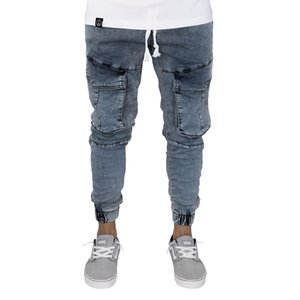 Casual Jeans Nine Minutes Designer Pocket Elastic Waist Pencil Slim Fit Fashionable New Urban Wind Style Cool Pants