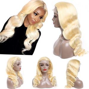 Blonde Lace Front perruque de cheveux humains onduleux Pré plumé dentelle Frontal perruque avec cheveux de bébé gratuit partie pour les femmes noires 150% Densité