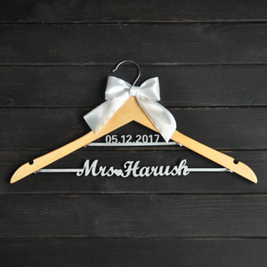 Custom Wedding Hanger with bowknot, Two Line Name Hanger, Personalized Bridal Hanger, Bridesmaids Name