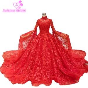 Gorgeous Red Lush Lace Vestidos de baile 2019 con mantón de abalorios de cristal largos vestidos de fiesta Dubai Prom vestidos Arabia Saudita árabe Vestido Longo
