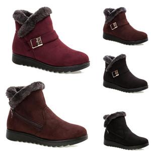 2020 Nicht-Marken-freie Verschiffen Winterfrauen Schneeschuhe Triple Black Wine Red Brown Suede Stiefeletten Mutter Schuhe warm halten 36-40 Style 20