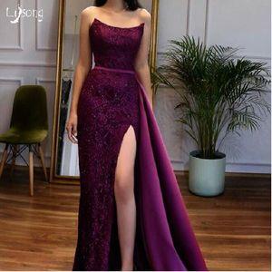 Purple Lace Strapless Leg Split Prom Evening Dress Prom Event Wear High Waist Robe de soiree Custom Made Sheath Prom Girls Formal Dresses