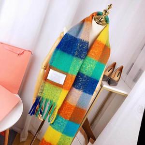 Gökkuşağı tasarımcı Eşarp Kadın Yeni Kış Yün Blend Acn-Stu Stil Eşarp Kadın Eşarplar 4 Renkler İsteğe yüksek Kalite varış