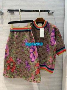 High-End-Frauen, Mädchen, a-Linie Strickrock Lurex Allover-Brief Verriegelung Blumenmotiv Rock bodycon Midi-Kleid Mode-Design-Luxus-Kleider