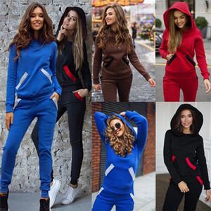 De manga larga de color sólido de deportes femenino Estilo Ropa Casual Ropa para mujer otoño diseñador 2pcs chándales jersey sudadera