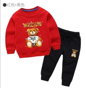 Kids round neck suit two-piece toddler clothing baby designer boy clothes cartoon printing baby designer girl clothes