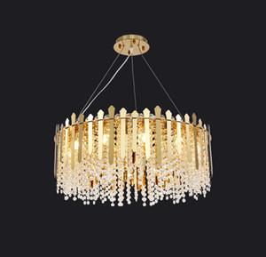 Современная роскошь Золото Круглого Металл Кри украшение Hotel Art Lamp Гостиная Подвеска Свет PA0618