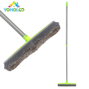 2019 Long Push Rubber Broom Bristles Sweeper Squeegee Scratch Free Bristle Broom for Pet Cat Dog Hair Carpet Hardwood Windows Clean