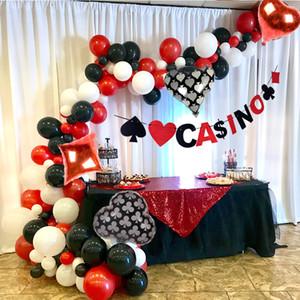 Casino Tema Balon arch Casino Dekorasyon Parti Poker Las Vegas Dekorasyon Anniversare Adulte Doğum Günü Partisi Süslemeleri Yetişkin SH190913