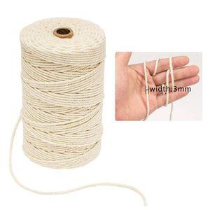 3mmx200m Blanc Cordon En Coton Naturel Beige Twisted Cord Rope Corde En Coton Emballage Craft Corde DIY À La Main Décor À La Maison offre
