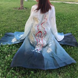 Chinesische Kleidung Studenten Alltag im chinesischen Stil Seas Chinese Traditional Han Kleidung Gestickte Grünlich Blau Historisch