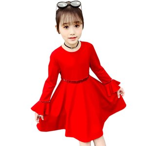 Fashion Spring Autumn Baby Red Dress For Girls Flare Long Sleeve Evening Girl Dress For Wedding Kids Girl Shiny Nylon Clothes T200417
