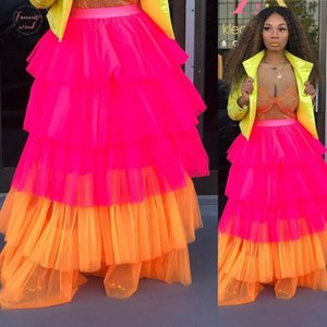 Tutu Skirts Women Spring Summer Fashion Women High Waist Pleated Skirt Color Patchwork Boho Skirts Long For Women 2019 New