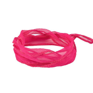 KELITCH Gilrs Teen Summer Holiday Jewelry Bangles Cuff Pink Silk Ribbon Thin Wrap Bracelets Multilayered Cuff Bangles