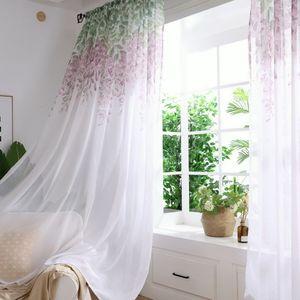 Urijk Tulle Curtain stampato moderna Wisteria Flower Separato Tulle Soggiorno Camera da letto Cucina drappeggiato pannello trasparente casa