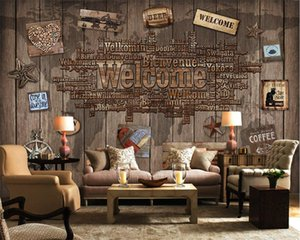 Beibehang Kundenspezifische Tapete Jahrgang willkommen Holzmaserung Brief TV Hintergrund Wand Wohnzimmer Schlafzimmer Wand im Hintergrund 3D Wallpaper