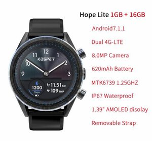 "KOSPET Hope Lite 1GB 16GB Android7.1.1 Dual 4G 1.39 ""AMOLED Smartwatch hommes WIFI 8.0MP IP67 Étanche MTK6739 Montre Smart Watch Téléphone"