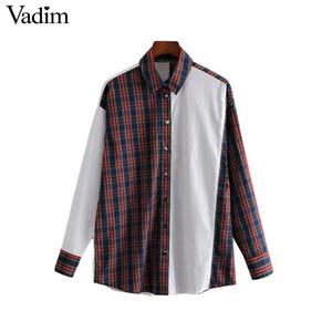 Vadim mujer patchwork a cuadros blusa suelta manga larga girar hacia abajo cuello camisas plisadas vintage mujer casual ropa elegante tops LA627