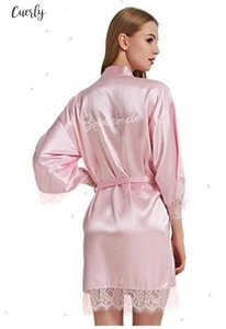 "Faux Satin Silk Wedding Bride Bridesmaid Robes,White Bridal Dressing Gown Kimono Bathrobes,""Bride""""Bride Graphic Shirt Sleeve On Back"