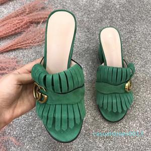 modacı Gerçek Deri sandalet 7.5cm 10cm Yüksek topuklu terlikler Lüks terlik kadın Satış iskarpin çevirme kutu C13 ile flop
