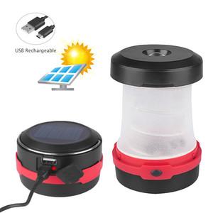 Piegabile portatile Solar LED Campeggio Lampada da campeggio SOS Torcia Lampada Mini Lampada con manico Tenda Tenda Light Pieghevole Lanterna Lanterna Banca