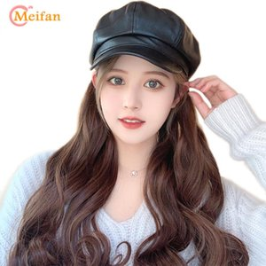 Kız Cosplay Saç Styling Şapka Retro PU Sekizgen Cap Sorunsuz Bağlı şapka perukla Meifan Uzun Kıvırcık Sentetik Peruk