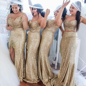 2019 Champagne Sequin Bridesmaids Dresses Floor Length Spaghetti Strapless Maid Of Honor Dresses Side Split Wedding Guest Party Gowns Cheap