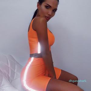 Seksi Kadınlar 3M Yansıtıcı Tracksuits Mahsul şort 2adet Giyim Skinny Slim Fit Şeker Renk Yaz Suits Wulong ayarlar Tops