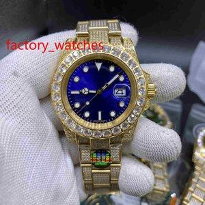 Heißer Verkaufs-Voll Diamant-Uhr-Sweep Reibungslos mechanische Automatik-Uhrwerk Multi-Color Wahl Big Diamant Lünette Luxus Herrenuhren 40MM