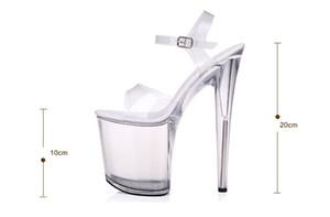 Стальные трубы Танцы сандалии женщин Качество сверхвысокой каблука 7-20CM прозрачный кристалл леди обувь Модель Catwalk большой двор MX200407