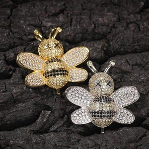 Iced Out Cute Bee Necklace Men Honey Bee Pendant Necklace For Women Hip Hop Jewelry Gifts