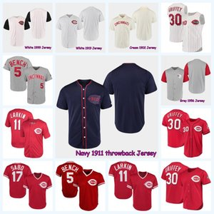 5 Johnny Bench 1978 Cincinnati 39 Devin Mesoraco 1990 11 Barry Larkin 17 Chris Sabo 30 Ken Griffey Jr. Vintage baseball Jersey