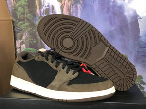 Best Quality Travis Scott 1 Low Cactus Jack Man Designer Basketball Shoes Newest I Black Sail Dark Mocha University Red Fashion Trainers