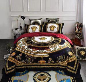 6 Stück europäisches Art-V Gold 100 Cotton Luxury Beding Set Fashion Bett Queen-Size 200230 cm Bettbezug-Set Brand Design Print Bettwäsche-Sets.