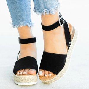 Duzeala Cunhas Sapatos Para Mulheres Sandals Plus Size Salto Alto Verão Sapatos CY200518
