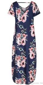 Femmes Robe d'été imprimé Flora manches mi-longues Robes Designer V-Neck femmes manches Batwing Mode Vêtements Tricot