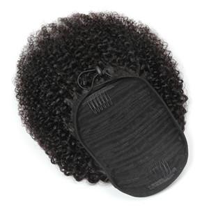 Las colas de caballo peruano afro rizado rizado 100g / set de una sola pieza del pelo Extensiones Cola de caballo rizada al por mayor de la Virgen Pelos cabello humano 100%