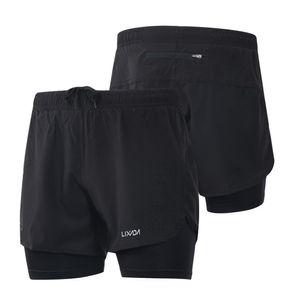 Для мужчин 2-в-1 Запуск Шорт Быстрых сушек дышащей Активного обучения Упражнения Бег Велоспорт шорты с Longer Liner CS Y8253B-S
