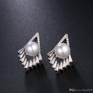 irregular geometric earrings for women wedding fashion simulated-pearl studs with 925 sliver needle for Mother's Day